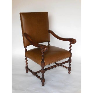 Custom Walnut and Leather Spiral Twist Armchair with Scrolled Arms