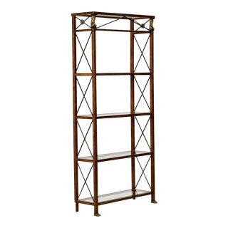 Spanish Neoclassical Style Painted Metal and Glass Etagere with Brass Mounts