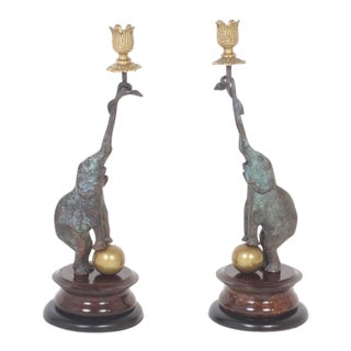 Sophisticated Mid-Century Pair of Elephant Candleholders