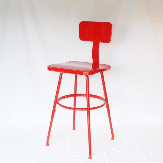 Industrial Adjustable Bar Stool Or Drafting Stool Chairish