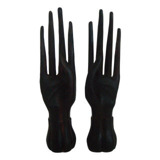 Solid Teak Oriental Ring Fingers - Pair