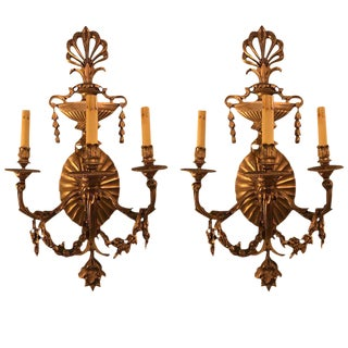 Bronze 3-Light Sconces in an Urn Form - A Pair