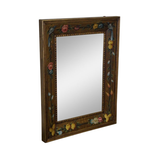 Floral Hand Painted Gilt Frame Beveled Wall Mirror - Image 1 of 10