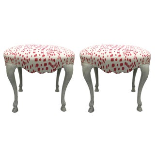 Curvy Hoof Leg Brunschwig Fils Les Touches Upholstered Benches - a Pair