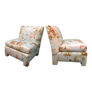 Chinoiserie Toile Slipper Chairs - A Pair