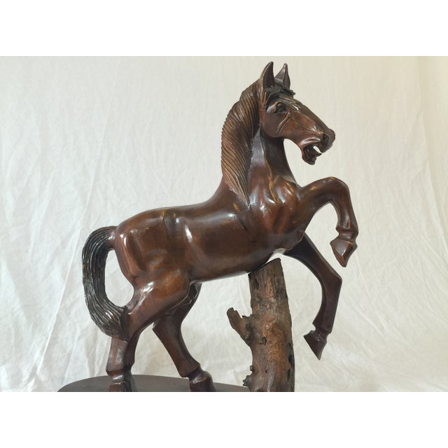 Carved Wooden Horse on Wood Stand - Image 8 of 10