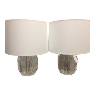 Crystal Glass Table Lamps - A Pair