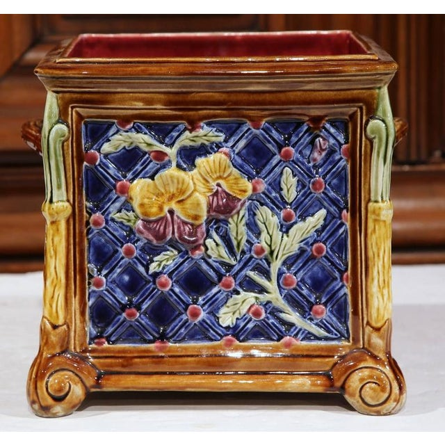 French Hand-Painted Barbotine Planter - Image 4 of 6