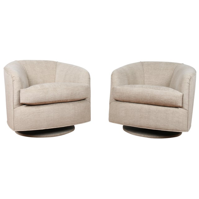 Swivel Hollywood Regency Style Chairs - Pair - Image 1 of 8