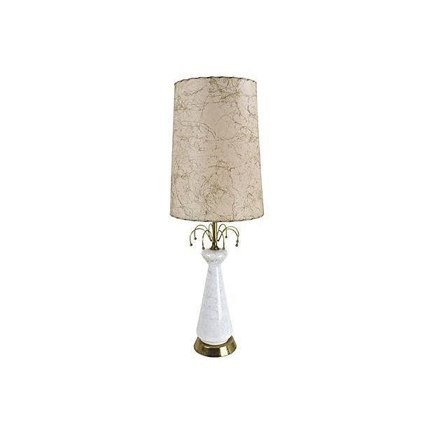 1950s Glass Lamp & Fiberglass Shade - Image 1 of 6