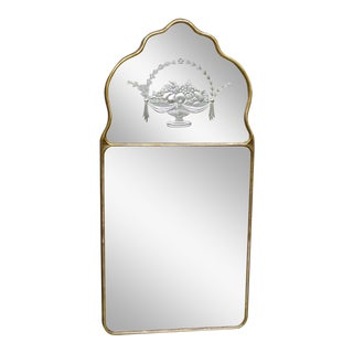 Early 20th Century Etched Glass Mirror