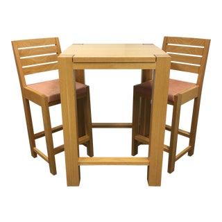 De La Espada Square Bar Table & Two Stools - Set of 3