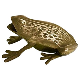 Vintage Brass Frog Paper Weight