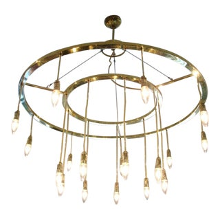 Oversized Double-Brass Italian Sphere Light Fixture