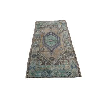 Decorative Vintage Turkish Oushak Wool Rug - 3′2″ × 6′1″