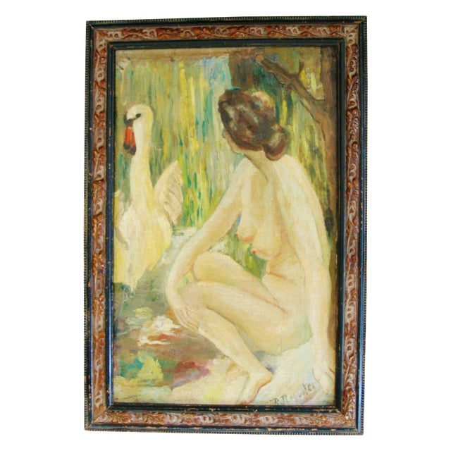 1940s French Oil Painting of Female Nude W/ Swan - Image 1 of 7