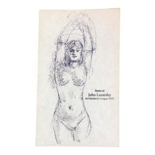 Vintage Original Nude Ink Sketch