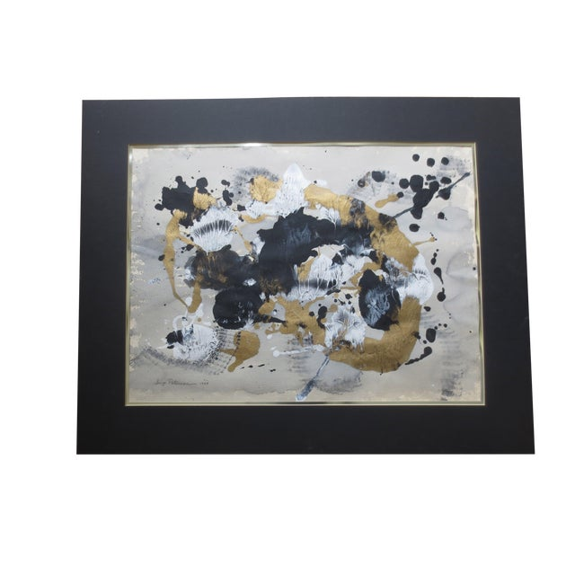 1984 Large Russian Gold & Black Gouache Abstact - Image 1 of 7