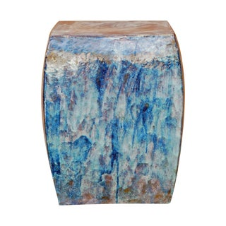 Blue Square Clay Ceramic Garden Stool
