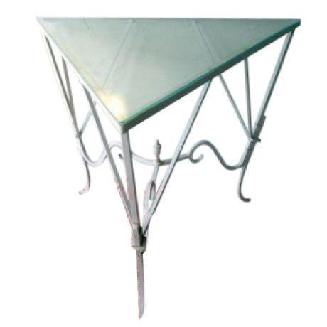 Iron Glass Salterini Corner Patio Table Chairish