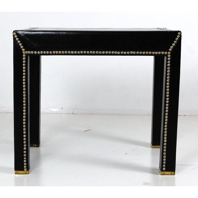 Italian Black Leather Studded End Tables - A Pair - Image 2 of 10