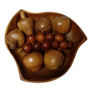 Mid-Century Wooden Fruit Bowl