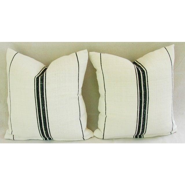 French Black Stripe Grain Sack Pillows - Pair - Image 3 of 8