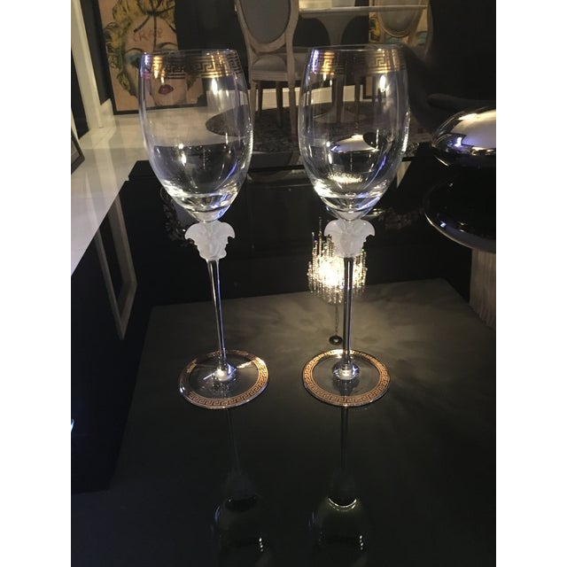 Image of Gianni Versace Rosenthal 1993 Medusa d'Or Wine Glasses - A Pair