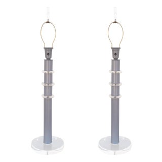 Karl Springer Style Stacked Lucite Lamps - A Pair
