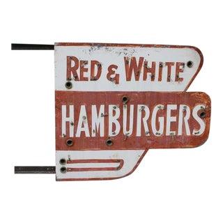 Red & White Hamburgers Sign