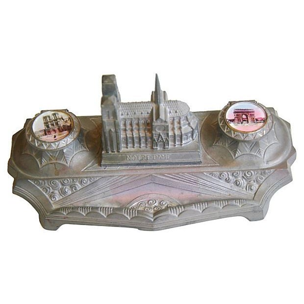 1930s French Iconic Historic Sites Inkwell - Image 1 of 9