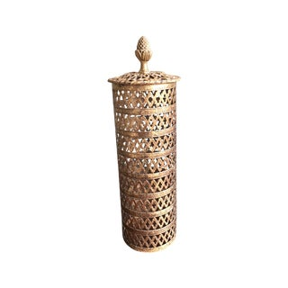 Moroccan Motif Pierced Brass Lantern Candle Cover