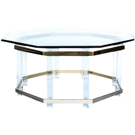 Charles hollis jones style lucite brass coffee table for Lucite and brass coffee table