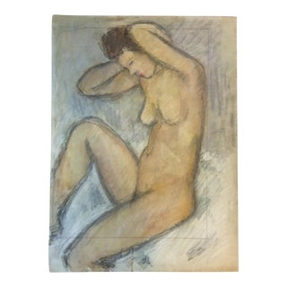1940s Vintage Seated Nude Painting