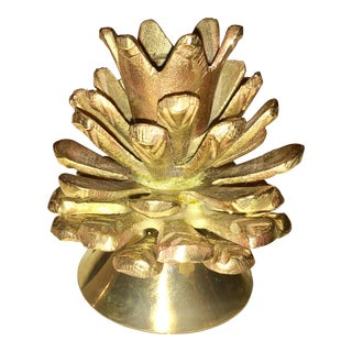 Brass Pine Cone Candle Holder