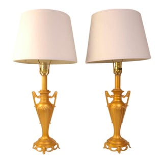Hollywood Regency Gold Provincial Lamps - A Pair