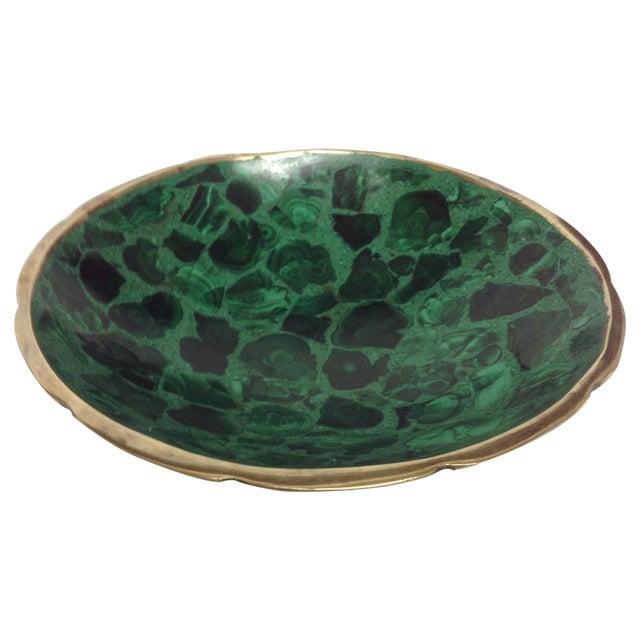 Round Polished Genuine Malachite & Bronze Bowl - Image 1 of 5