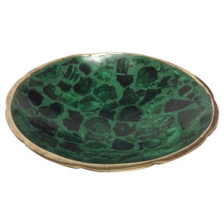 Round Polished Genuine Malachite & Bronze Bowl