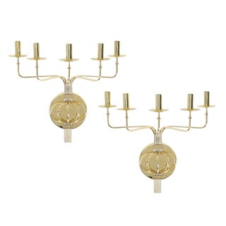PAIR OF 1950S TOMMI PARZINGER BRASS WALL CANDELABRA