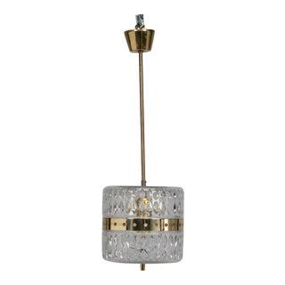 Kalmar Clear Crystal and Brass Pendant Fixture