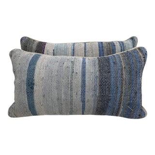 Hand Woven Striped Rag Rug Pillows - A Pair