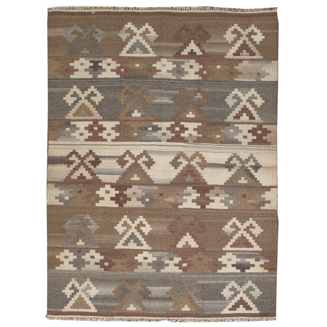 Image of Apadana - Brown & Taupe 5 x 7 Multicolor Kilim