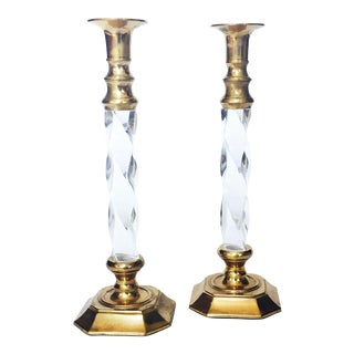 Vintage Tall Brass and Twisted Lucite Candlestick Holders - A Pair