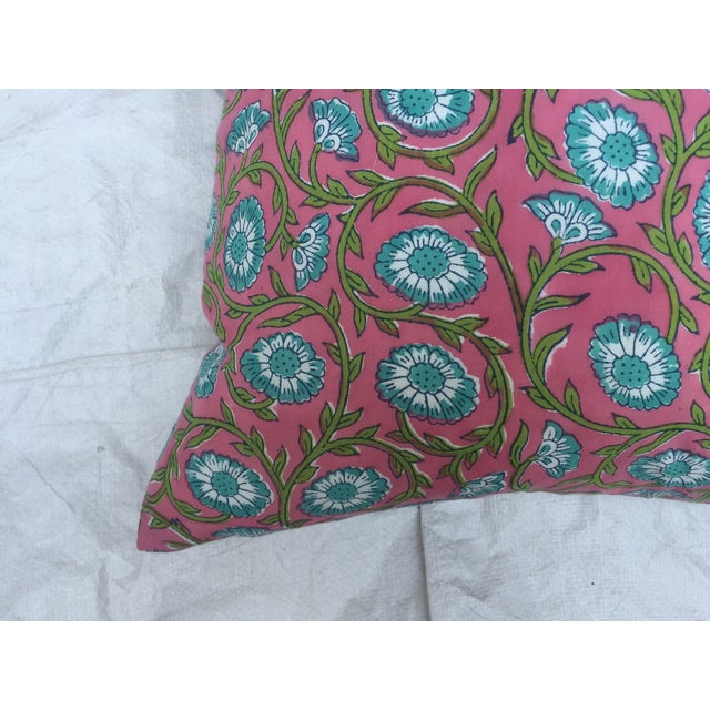 Hand-Blocked Pink Indian Pillows - A Pair - Image 6 of 6