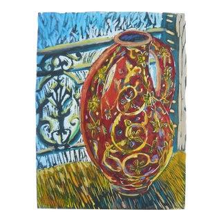Tunisian Red Vase Painting