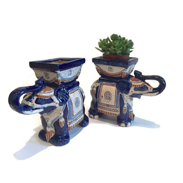 1970s Vintage Ceramic Elephant Planters - A Pair - Image 7 of 7