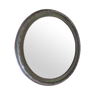 Round Green Painted Mirror With Bronze Accents
