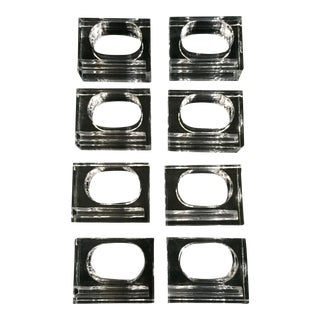 Modern Lucite Napkin Rings - Set of 8