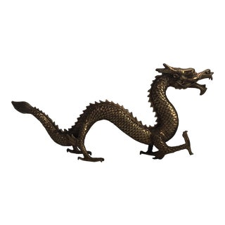 Hollywood Regency Gold Brass Chinese Dragon Statue