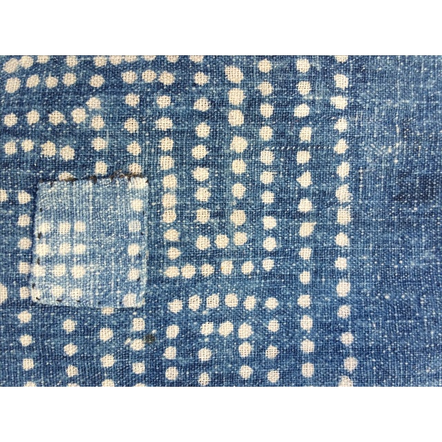 Antique 1930s Softly Faded Blue Batik Textile - Image 5 of 5